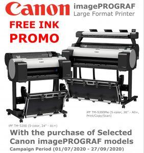 Canon imagePROGRAF FREE INK Promo