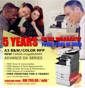 5 YEARS TOTAL WARRANTY SCHEME - 5 YEARS FREE PRINTING!