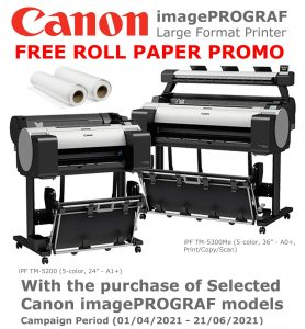 Canon imagePROGRAF FREE ROLL PAPER Promo